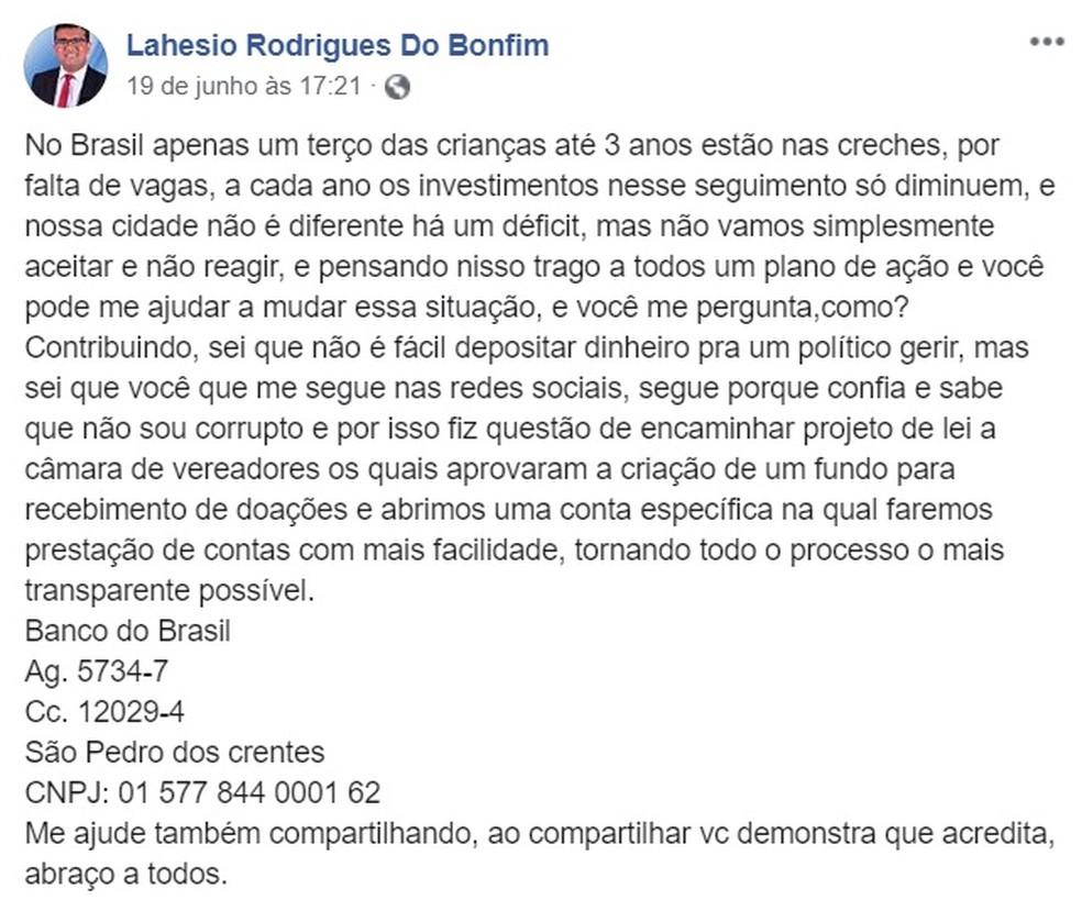 Prefeito de São Pedro dos Crentes pede doações da população em dinheiro para construir creche