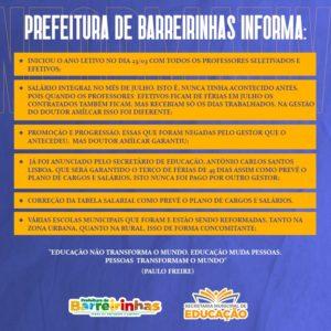 Prefeitura de Barreirinhas se posiciona sobre cobrança de professores
